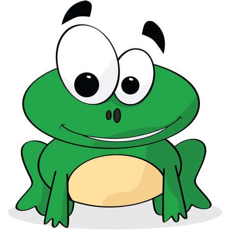 Cartoon illustratie van een schattige kikker glimlachen
