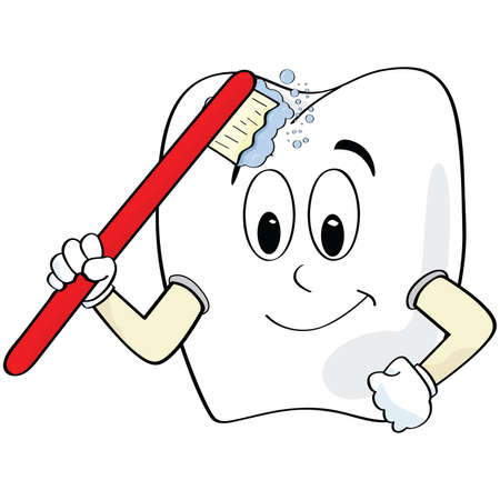 Cartoon illustration of a tooth brushing itself Illustration