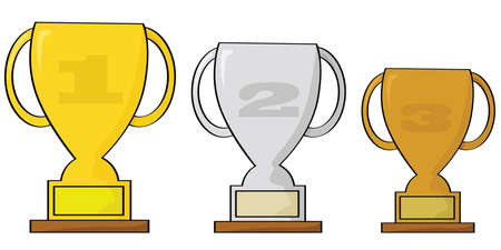 Cartoon illustration of three trophies to be awarded for a top 3 finish in a sporting event: gold, silver and bronze