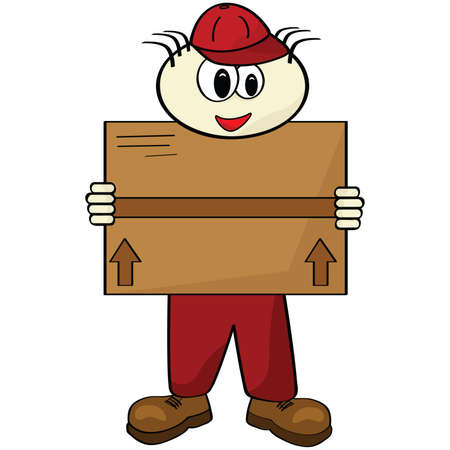 Cartoon illustration of a delivery man carrying a box