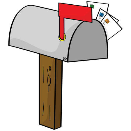 Cartoon illustration of an old-style mailbox