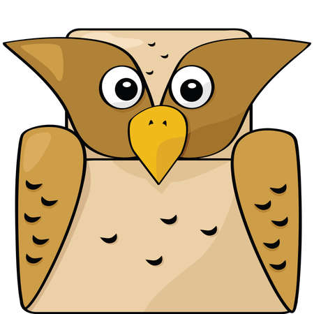 Cartoon illustration of a brown owl Vector