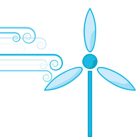 force of the wind: Concept illustration showing bursts of wind powering a wind turbine Illustration