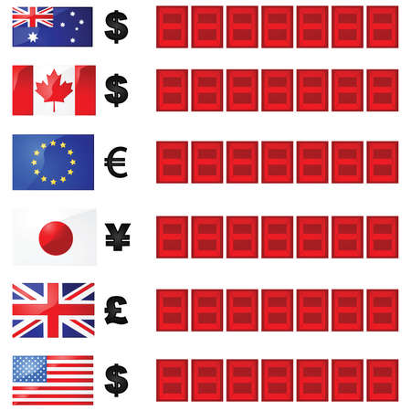 canadian flag: Illustration of a currency rate board, with six flags and currency symbols beside electronic number displays