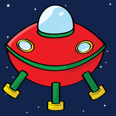 Cartoon illustration of a red flying saucer in outer space Vector
