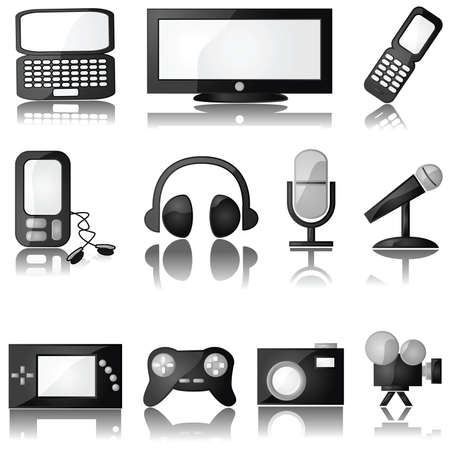 portable audio: Set of glossy multimedia icons with reflection