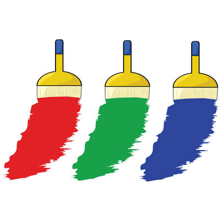 Cartoon illustration of three paintbrushes painting in three colors: red, green and blue