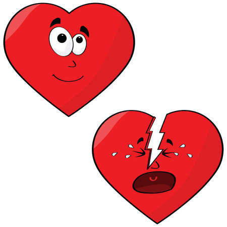 damaged: Cartoon illustration of a heart in love and another broken heart crying Illustration