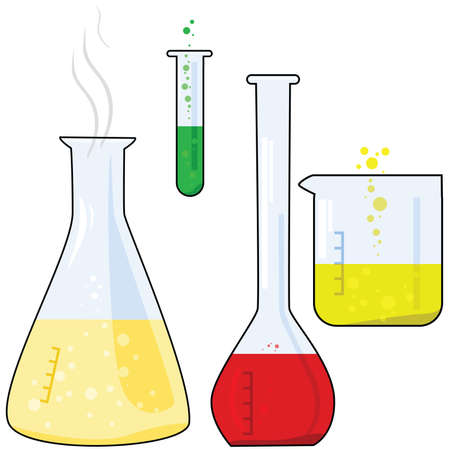 test glass: Cartoon illustration of different pieces of equipment from a chemistry lab