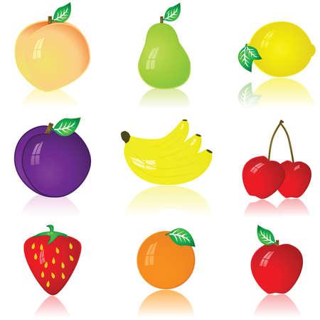 Glossy illustration of nine different fruits: peach, pear, lemon, plum, banana, cherry, strawberry, orange and apple Ilustração
