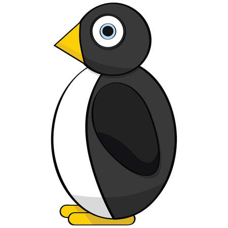 Cartoon illustration of a cute stylized penguin