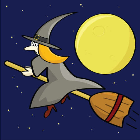 moon: Cartoon illustration of a witch flying on her broom in front of a full moon