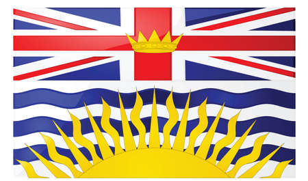 Glossy illustration of the flag of the province of British Columbia, Canada Иллюстрация