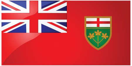 オンタリオ州、カナダの州の旗の光沢のあるイラスト 写真素材 - 7697310