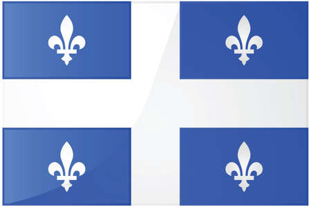 Glossy illustration of the flag of the province of Quebec, Canada 向量圖像
