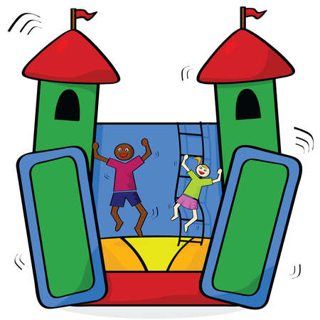 Cartoon illustration showing a couple of kids having fun in a bouncing castle Vector