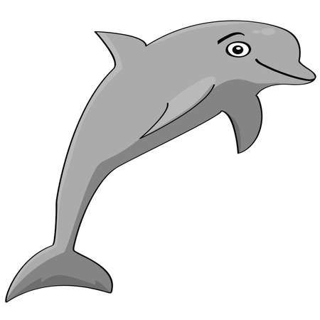 Cartoon illustration showing a smiling dolphin jumping Illusztráció