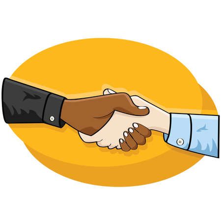 confirm: Cartoon illustration of a handshake between two business people