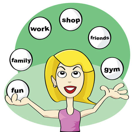 work task: Cartoon illustration showing a young woman juggling balls trying to achieve balance in modern life: fun, friends, work, shop, family, gym