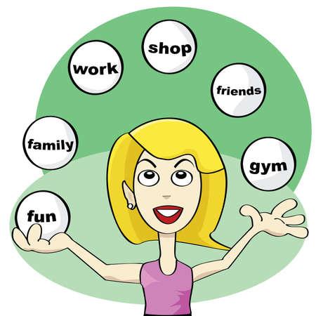 Ilustración de una joven mujer haciendo malabarismos con bolas tratando de lograr el equilibrio en la vida moderna de la historieta: diversión, amigos, trabajo, tienda, familia, gimnasio