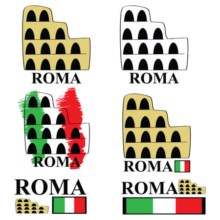 Stylized cartoon representation of the Coliseum in Rome, with the Italian spelling for the city (Roma) and the Italian colors Vector