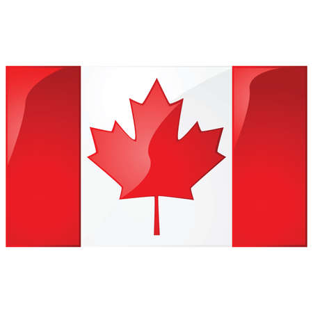 canadian flag: Glossy illustration of the flag of Canada Illustration
