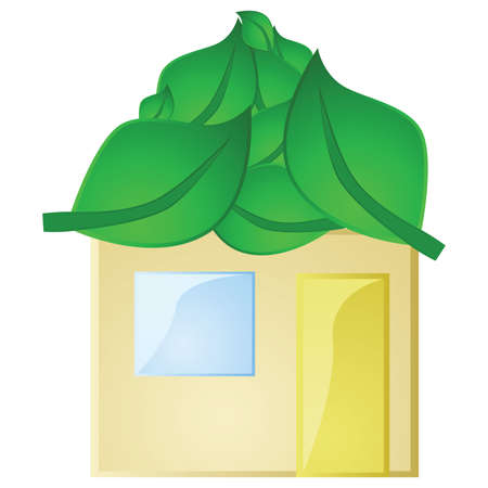 Glossy illustration of a concept green house, with its roof made of leaves Illustration