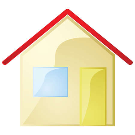 Glossy illustration of a simple house with one window and door