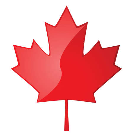 canada: Glossy illustration of a red maple leaf, symbol of Canada