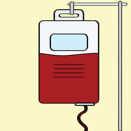 Cartoon illustration of a bag of blood being transfused
