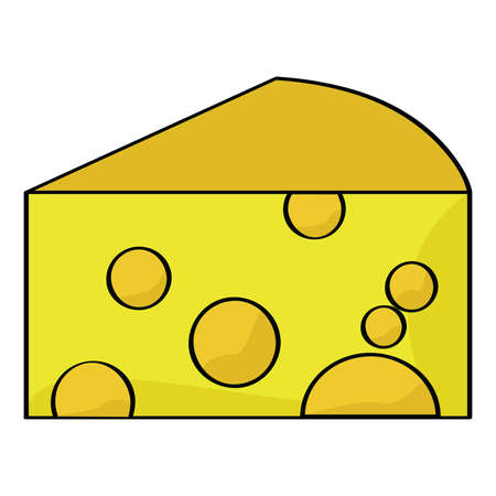 art piece: Cartoon illustration of a piece of cheese