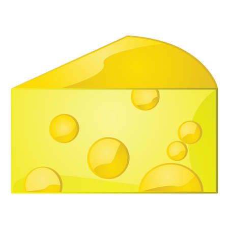 piece: Glossy illustration of a piece of cheese