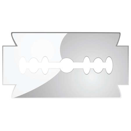 razor blade: Glossy illustration of a stainless steel razor blade