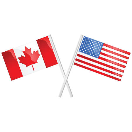 Glossy illustration of the Canadian and American flags crossed over each other Illustration