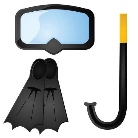 Glossy illustration of some scuba diving equipment Illustration