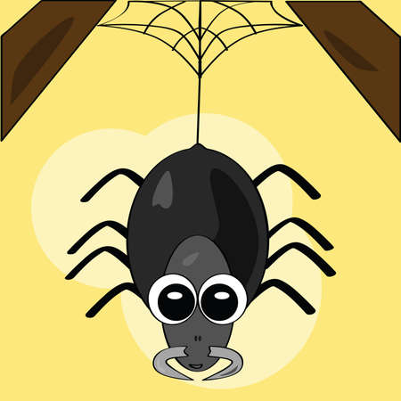 Cartoon illustration of a cute spider hanging from the ceiling