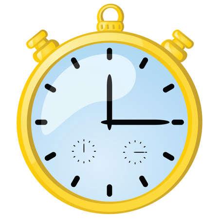 Glossy illustration of a golden vintage stopwatch