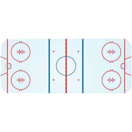 rink: Illustration of an overhead view of an ice hockey rink
