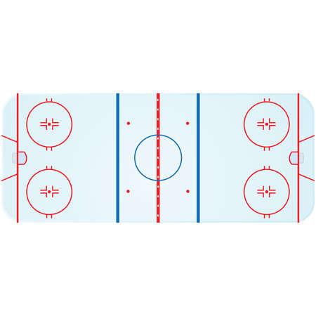 hockey rink: Ilustraci�n de una vista a�rea de una pista de hockey sobre hielo
