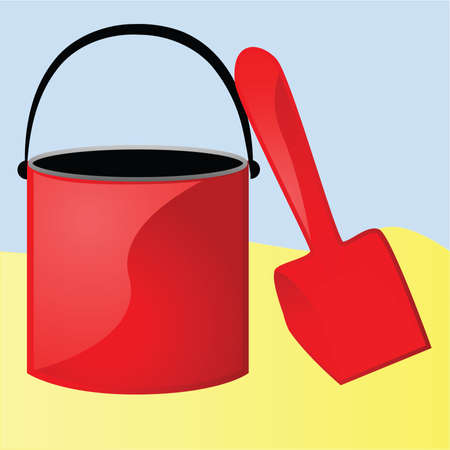 Illustration of a red bucket and shovel in a sandbox Ilustrace