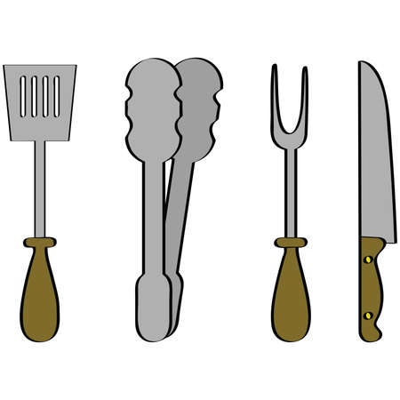 Illustration of a set of four barbecue tools