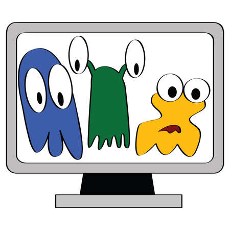 Cartoon illustration of a computer monitor showing three different types of computer viruses Stock Vector - 7697492