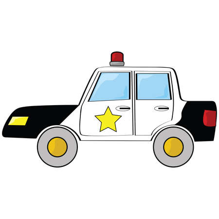 Cartoon illustration of a black and white police car