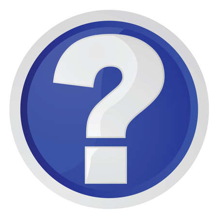 Glanzende illustratie van een blauw bord met een vraagteken, meestal gebruikt voor informatie of helpdesks