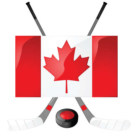 hockey sobre hielo: Ilustraci�n de palos de hockey, puck y una bandera canadiense