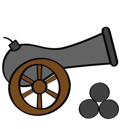 Cartoon illustratie van een oude kanon, met cannon ballen aan de kant