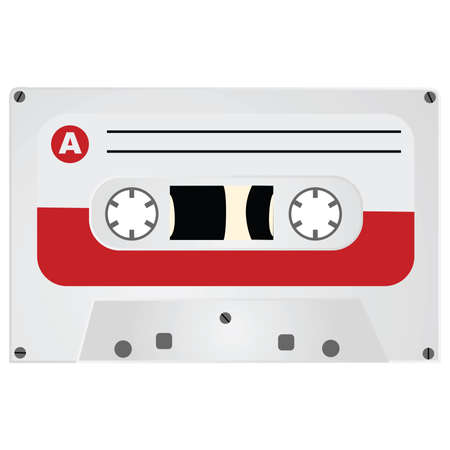 Illustration of a vintage style audio cassette Иллюстрация