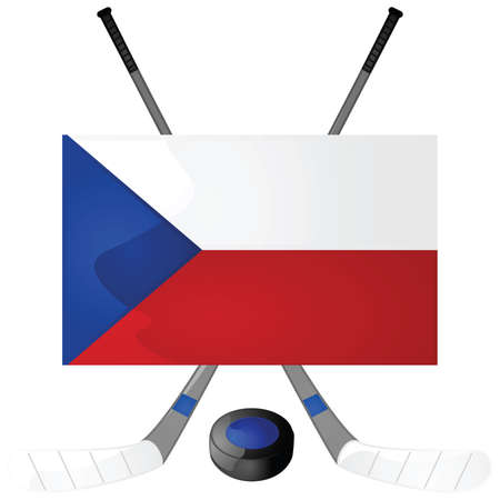 Illustration of hockey sticks, puck and a Czech Republic flag Çizim