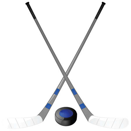Illustration of a hockey puck with two hockey sticks crossed above it Vector