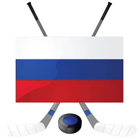 Illustration of hockey sticks, puck and a Russian flag
